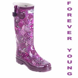 Women Tall Rain Boots, #1512, Purple Fern